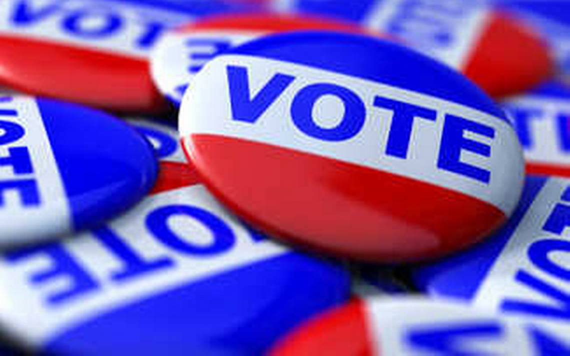 red white and blue vote buttons